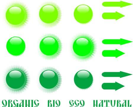 set of green eco icon and arrow. vector Stock Vector - 9651634