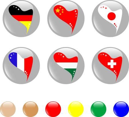 national heart flags icon shiny button - vector Vector