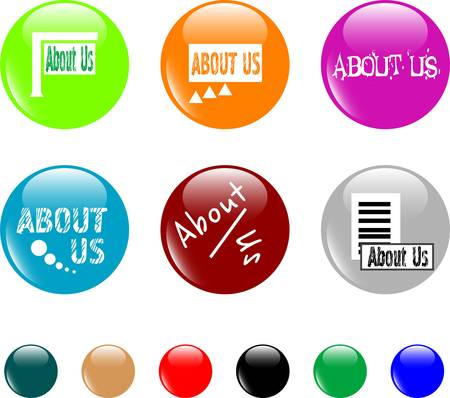 click here: set of colored about us button. vector