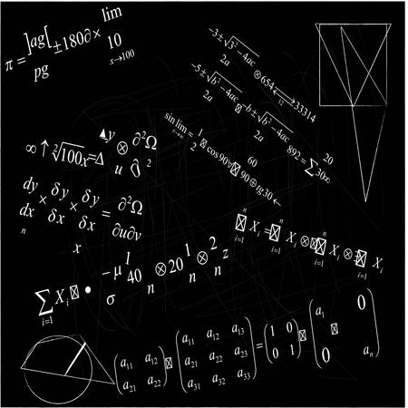 close up of math formulas on blackboard Vector