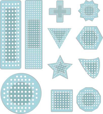 Een verzameling bandaid pictogrammen in verschillende vormen maten