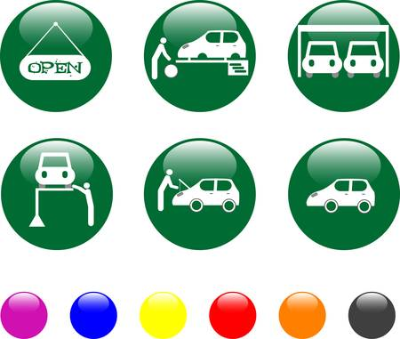 tire shop: car service green icon shiny button