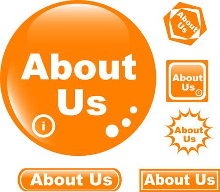 more information: button about us colored glossy icon