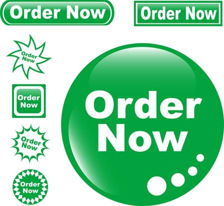set green button ORDER NOW glossy Vector