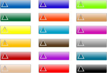 glossy rectangular varied colored buttons set Vector