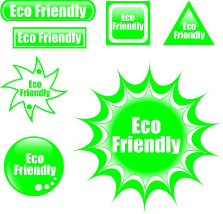 green eco friendly label web button Stock Vector - 9817463