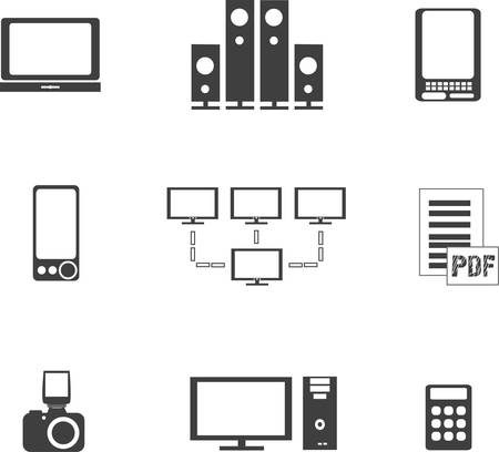 pdf: digital media electronics equipment icons
