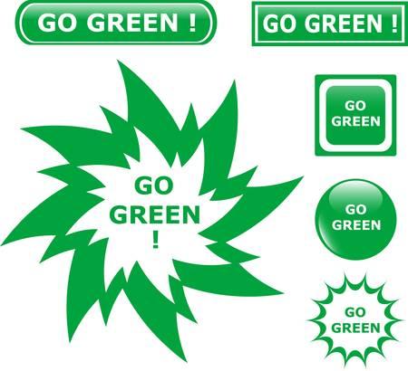 button go green icons Vector