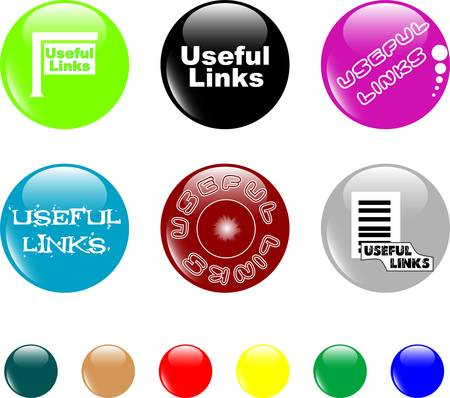 button useful links colored icon Stock Vector - 9817476