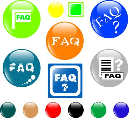 searches: button FAQ various colored icon Illustration