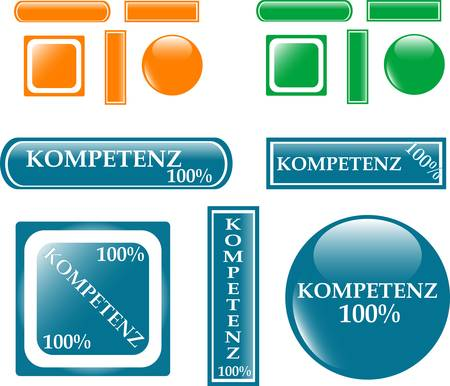 100% competence Button set Vector