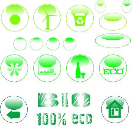 eco icon set green button Stock Vector - 9817470