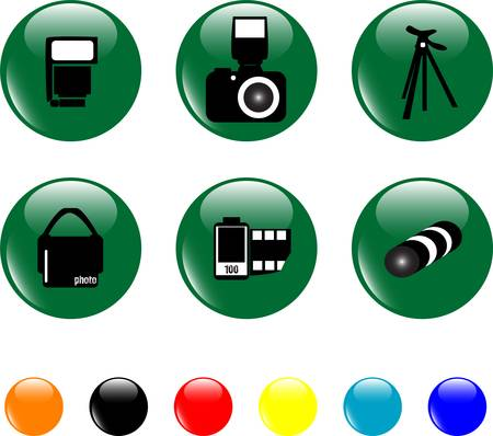 icon set objects green button Vector