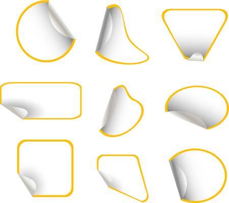 white sticker with yellow border set Stock Vector - 9817480