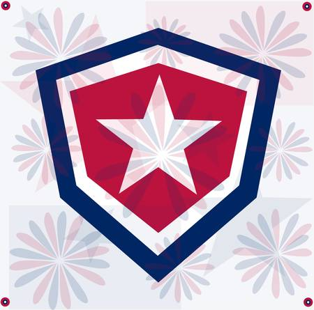 military shield: Grunge star america background independent day