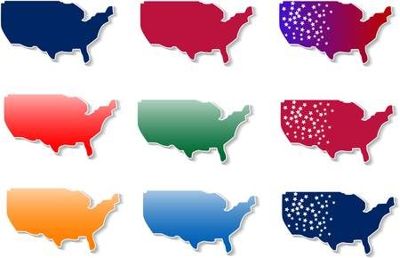 mapa: form of Usa stickers set Illustration