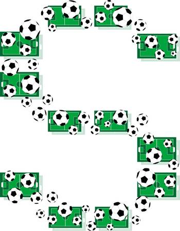 S, Alphabet Football letters made of soccer balls and fields Vector