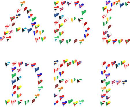 Alphabet letters made of flags in heart Vector