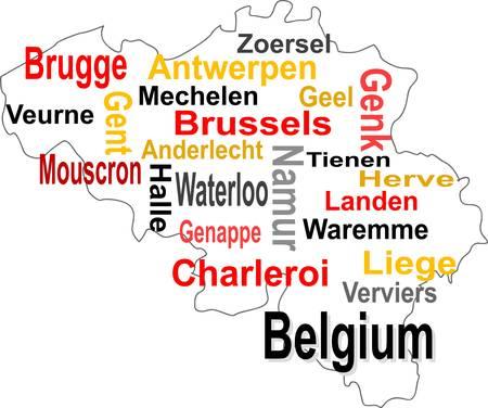 België kaart en woorden wolk, met grote steden