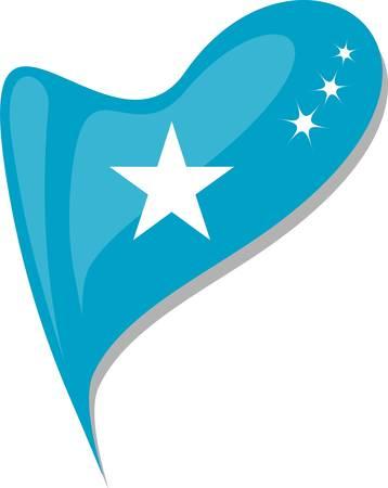 somali: somali in heart. Icon of somali national flag