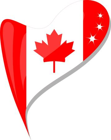 canada flag button heart shape Vector