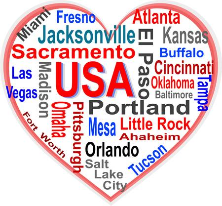 jacksonville: USA Heart words cloud with larger american cities
