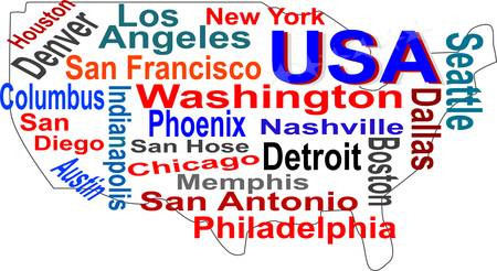 USA map and words cloud with larger cities Vector