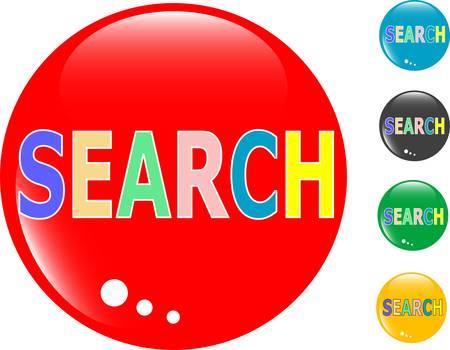 searches: Search glass button icon Illustration