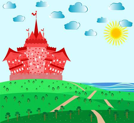 Fairytale landscape with red magic castle Vector
