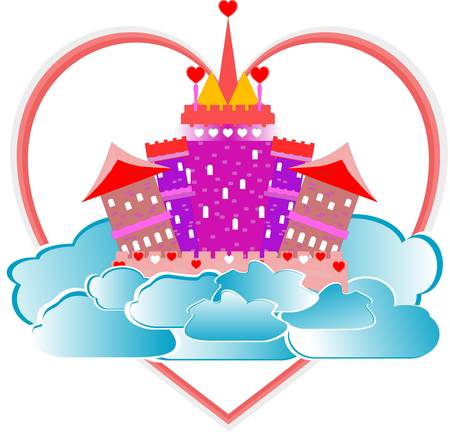magical fairytale pink castle with heart on sky Illustration