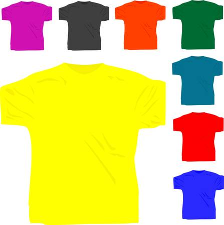 set of men T shirt polo isolated on white Stock Vector - 10118141