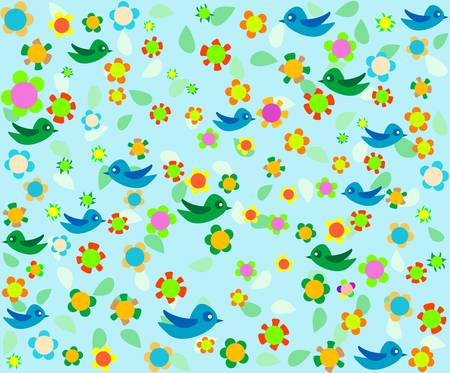 Romantic floral background with cartoon birds Vector
