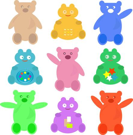 bush babies: set of cute cartoon animals bear background