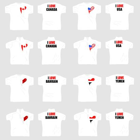 white t shirt: white t shirt with country flags in love heart Illustration