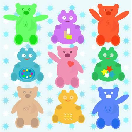 smile cute cartoon animals wallpaper Stock Vector - 10347293