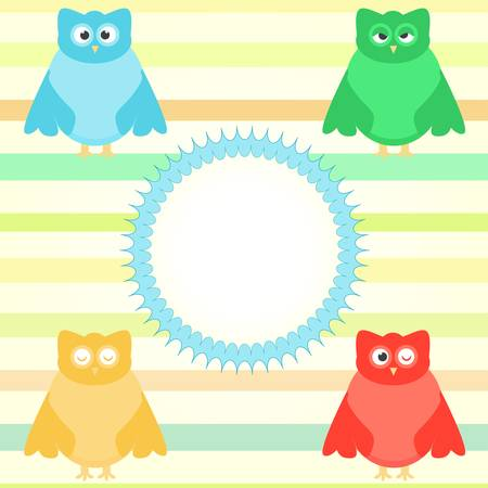 cute cartoon owl set on colorful background Vector