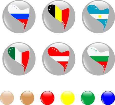 national heart flags icon shiny button Vector