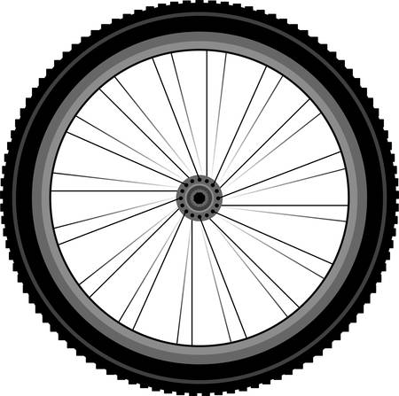 spokes: La rueda delantera detallada de una bicicleta de monta�a Vectores