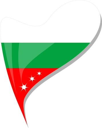 bulgaria in heart. Icon of bulgaria national flag.  Illustration