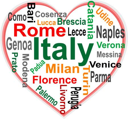 Italy Heart and words cloud with larger cities Vector