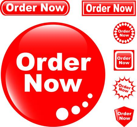 purchase order: button ORDER NOW glossy icons set