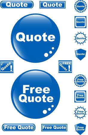 free quote glossy button blue icon Vector