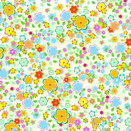 flowerhead: Beautiful pattern floral background with green leaves Illustration