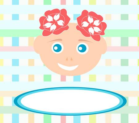 smiling cute baby girl with abstract bakground  Vector