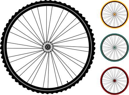 spokes: establecer ruedas de bicicleta aislados en blanco