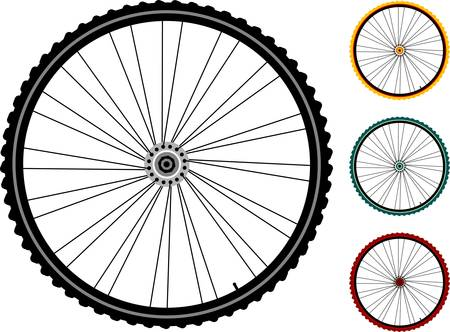 trail bike: set bicycle wheels isolated on white