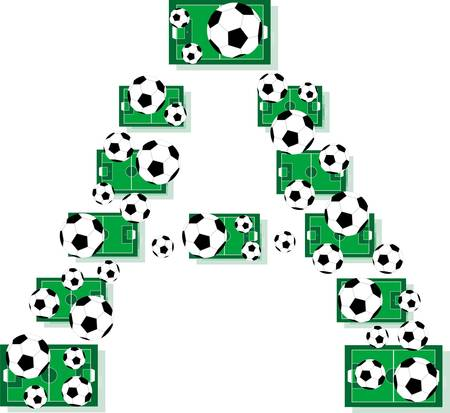A, Alphabet Football letters made of soccer balls and fields Vector