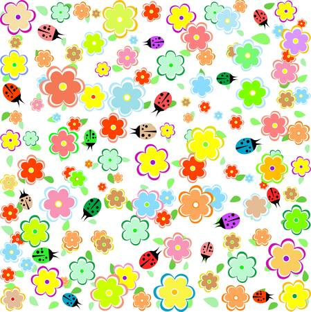 spring background with small flowers and ladybugs Illustration