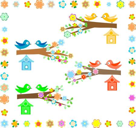 beautiful bird house on a branch of a flowering tree  Vector