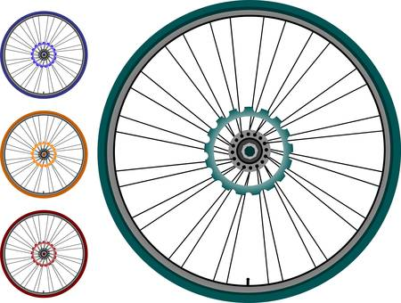 vector wheel: Bike wheel set - vector illustration on white background Illustration